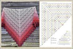 Crotchet Scarf Patterns, Shrug Knitting Pattern, Crochet Mittens Pattern, Crochet Stitches Free, Crochet Diagram, Crochet Chart, Crochet Scarves, Hand Crochet, Crochet Patterns