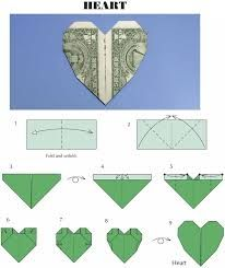 how to fold a dollar bill into a heart