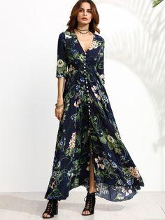 Vestido maxi manga media con estampado floral - azul marino