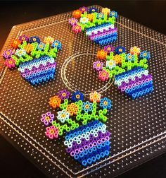 Flowers mini perler beads by perlermom More