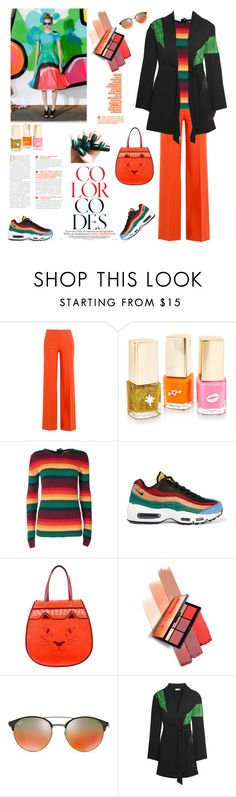 """Bright Rainbow"" by ellie366 ❤ liked on Polyvore featuring Diane Von Furstenberg, INC International Concepts, N°21, NIKE, Charlotte Olympia, NARS Cosmetics, Ray-Ban, Attico, orange and rainbow"