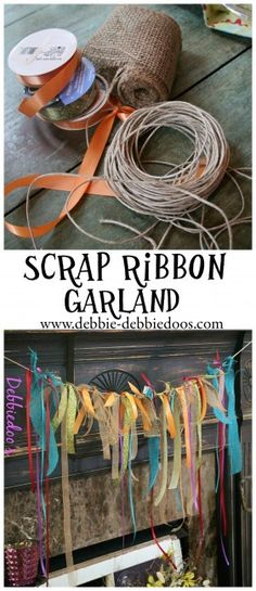 Isn't this little scrap ribbon garland adorable! It's such a fun use of bits & pieces of leftover ribbon. It would be really cute to use tiny strips of fabric salvages also. No waste that way. Ribbon Garland, Bunting Garland, Buntings, Burlap Garland, Garland Ideas, Ribbon Crafts, Fabric Crafts, Sewing Crafts, Fall Crafts