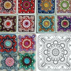 Transcendent Crochet a Solid Granny Square Ideas. Inconceivable Crochet a Solid Granny Square Ideas. Crochet Diy, Crochet Motifs, Granny Square Crochet Pattern, Crochet Diagram, Crochet Chart, Crochet Granny, Crochet Flower, Manta Crochet, Crochet Stitch