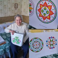 """Look at this artwork! My sweet grandmother was the first one who got to color the latest coloring book. She was so excited and did a great job. The effect she has created reminds me of a kaleidoscope. Amazing! She also redefined the term """"coloring books for adults"""" ;) P.S. If you love mandalas you can easily download the coloring pages by joining the 21 MMM Coloring Club on Facebook. Don't forget to have fun :)"""