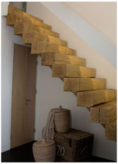 Stairs in a country house, at the cottage wooden - Home Decor Rustic Stairs, Modern Stairs, Loft Stairs, House Stairs, Stairs To Heaven, Types Of Stairs, Wooden Closet, Tiny House Loft, Cottage Exterior