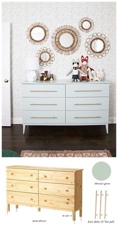 """Ikea hack. Tarva Dresser with legs cut at an angle to create an elegant profile. This one small detail doesn't cost a thing and it changes the look of the dresser dramatically. Paint: Farrow & Ball: Teresa Green, gloss (sprayed on). Pulls: Lewis Dolin's brass round bar pull 15""""from myknob.com"""
