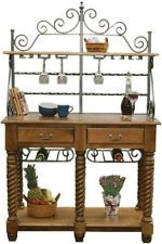 Amish Kitchen Bakers Rack Tuscany Wrought Iron Wood Wine Buffet Sideboard Table