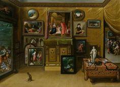 Hieronymus Francken the Younger (Flemish, 1578–1628) -  Interieur eines Sammlers, oil on wood,  52.5 x 73 cm. (20.7 x 28.7 in.)