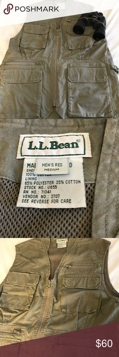 """LL BEAN Hunter Photographer Travel Vest Safari med {Binoculars not included. My kids would be devastated ;)}  Fabulous heavy duty vest from LL Bean, with multiple pockets, including ones on the interior and a large one on the back. Pockets close with zippers and/or velcro.  Underarm to underarm approx 21"""". Approx 27.5"""" long.  No tears, stains, or rips. Ships quickly from a smoke free home. Thanks so much for shopping @ Lilac Lane! :) L.L. Bean Other"""