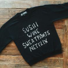 Guess who's back, back again.  The sushi wine sweatshirt is ✨RESTOCKED✨ on JACVANEK.COM! Tag a friend who needs it and go get your shop on!