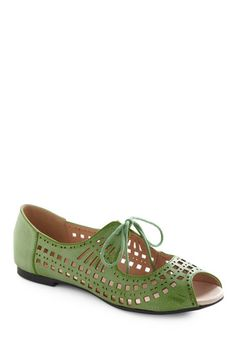 I've never been big on these kinds of sandals, but this pair is actually pretty cute.  Green sandals - Modcloth