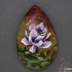 Beautiful  Pendant Hand Painted Flower Natural Gemstone   ZL805360 #ZL #Pendant