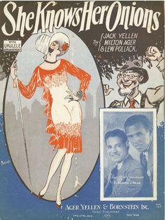 She Knows Her Onions - 1928 - Original Sheet Music - No Chord Names - Uke