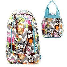 Owl Print Grey Chevron Blue Trim Backpack W Matching Lunch Bag