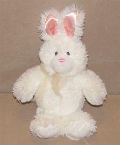 "10"" Gund Baby White Pink Bunny Rabbit Plush Stuffed Animal Little Bunsy 36427 #GUND"