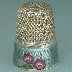 Antique French Enameled Pansies Band Silver Thimble (Vintage Early 20th Century Sterling Silver Flowers Design Thimbles)