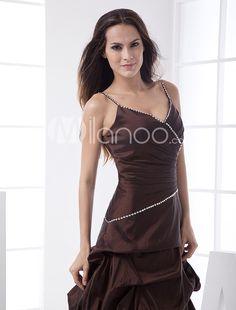 Elegant Ball Gown Spaghetti Floor Length Taffeta Bridesmaid Dress - Milanoo.com