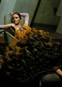 """Wonder""  Vogue Italia, March 2004   photographer: Steven Meisel  Caroline Trentini    in Christian Dior, Spring 2004 Couture"