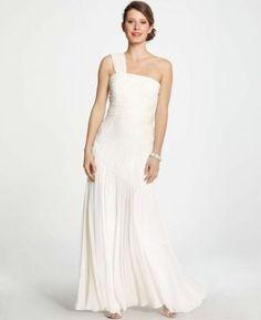 NWT Ann Taylor 8 Wedding Bridal Gown Silk Georgette Pleated One Shoulder Dress