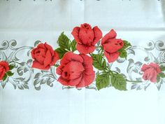 vintage tablecloth large rectangular red roses vibrant by brixiana
