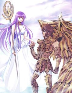Saint Seiya - TLC - Athena (Sasha) and Sisyphe by アスカ@ついった on pixiv.