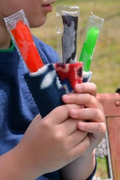 Extremely easy and inexpensive- Ice Pop Holders Give each child an ice pop holder ad a few unfrozen ice pops
