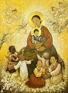 'The Virgin Mary of Peace' with worldwide children (+ more Korean contextualized Christmas paintings) Artist Shim Soon-hwa Catherine of South Korea created this masterful painting as a gift for the. Divine Mother, Blessed Mother Mary, Blessed Virgin Mary, Madonna Und Kind, Madonna And Child, Religious Images, Religious Art, Queen Of Heaven, Mama Mary