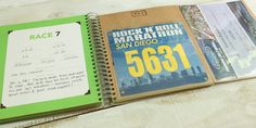 Always remember why you race.  A runner's creative organizational book for race day memories.   A unique place to display and preserve your race statistics, bib numbers and photos for all your races from 5K, 10K, half marathons and marathons.