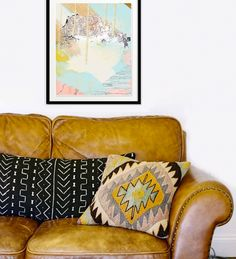 The lovely colors and frame from this print blend in nicely with the pillows and burnt orange couch! Get your print today, available for instant download! art, modern art, digital art, small spaces, living room, couch, design, interior design, vibrant colors, pillows, urban outfitters, prints, etsy, home decorating, decoration, abstract, modern abstract art, orange couch, burnt orange