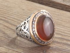 925 Silver Elegant Man Ring With Natural Agate Size 9-10-11 Handmade Jewellery #IstanbulJewellery #Statement
