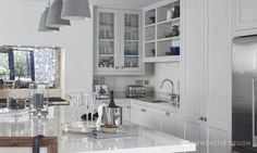 This L Shaped kitchen is functional and simplistic. Featuring a bold kitchen island in gorgeous blue hues, adding to the sophistication of the family room. Plain English Kitchen, L Shaped Kitchen Designs, Kitchen Collection, New Kitchen, Layout Design, Family Room, Kitchen Cabinets, Backyard, Ireland