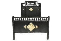 Genesee River Trading Co. | Rustic Revival Bed, Black | Give any bedroom the rustic look of a lakeside cabin. This queen-size hickory bed features black oak bead board on the headboard and footboard, white birch-bark diamond motifs, and a twig trim. Handcrafted in Pennsylvania | 5,600.00 retail