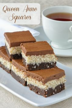 Queen Anne Squares have been one of the most popular Newfoundland cookie bars ever on Rock Recipes; a scrumptious combination of coconut and chocolate. Rock Recipes, Sweet Recipes, Bar Recipes, Bar Cookie Recipes, French Recipes, Italian Recipes, 13 Desserts, Dessert Recipes, Italian Desserts