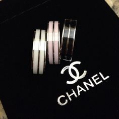 Chanel platinum ceramic rings New- Titanium platinum plated with ceramic. Super high quality and well made. These rings are heavy! Gorgeous rings! Comes with a black velvet pouch. You can wear one two or all three together. I have the sizes listed available. CHANEL Makeup