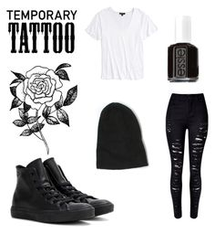 """Untitled #41"" by b-e-l-l-a-r-y-a-n ❤ liked on Polyvore featuring Forever 21, Topshop, WithChic, Converse, Wilfred Free, Essie and temporarytattoo"