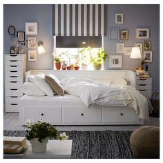 HEMNES Day-bed w 3 mattresses, white, Malfors medium firm, cm - IKEA Ireland Painted Beds, Painted Drawers, Ikea Drawers, Cama Ikea Hemnes, Lit Banquette 2 Places, Hemnes Day Bed, Day Bed Frame, Full Size Daybed Frame, Daybed Room