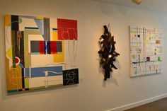 """No matter the combination, Matt Devine's and Richard Roblin's work looks fantastic together! Featured are Roblin's """"Mystery"""" and """"On the Boulevard"""" and Devine's """"Harvest #2"""". #contemporaryart #sculpture #painting #bosarts #newburyst #boston #art"""
