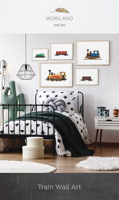 Steam Locomotive Print, Train Printable, Transportation Nursery, Nursery Print, Kids Play Room Decor, Choo Choo,Train Decor, Train Wall Art, Train Wagon Art, Big Boy Room, Toddler, Watercolor Art, Ideas, DIY, Big Girl Room Decor #kidsroom  #kidsdecor #WallArt #printable By MORILAND Wall Art