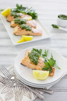 Grilled Salmon with Chimichurri | BourbonandHoney.com