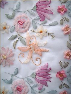 This is shadow work done on organdy. Used cotton thread. U can get it from www… - Jewerly Craft Embroidery On Kurtis, Hand Embroidery Flowers, Hand Work Embroidery, Couture Embroidery, Indian Embroidery, Hand Embroidery Stitches, Crewel Embroidery, Hand Embroidery Designs, Embroidery Techniques
