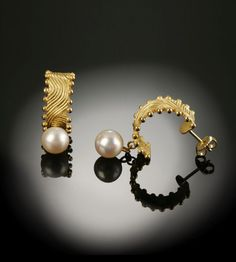 """earrings  so young park studio  18k yellow gold, Akoya pearls  3/8"""" wide x1 1/8"""" high"""