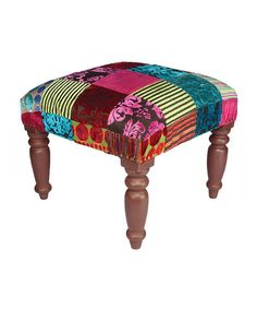take a look at this brown patchwork burnout stool by karma living on zulily today - Chaise Eleven Patchwork Colors