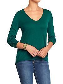 Women's Hi-Lo V-Neck Sweaters