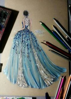 34 ideas fashion design inspiration style gowns for 2019 Dress Design Sketches, Fashion Design Drawings, Fashion Sketches, Dress Designs, Fashion Drawing Dresses, Fashion Illustration Dresses, Drawing Fashion, Fashion Dresses, Fashion Painting