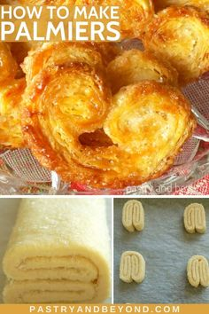 How to Make Palmier Cookies-You can easily make palmier cookies from scratch with quick puff pastry recipe. You'll love this delicious sugar palmier pastry that is so easy to make with simple ingredients! Baking Recipes, Cookie Recipes, Dessert Recipes, Easy Recipes, Palmier Cookies, Short Bread, Easy Sweets, Danish Food, Breakfast Pastries