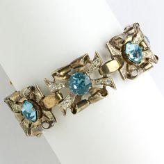 Coro 1940s Vintage Jewelry - Aquamarine, Diamanté & Vermeil Sterling Retro Modern Bracelet by Adolph Katz