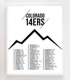 Colorado 14ers Checklist Poster