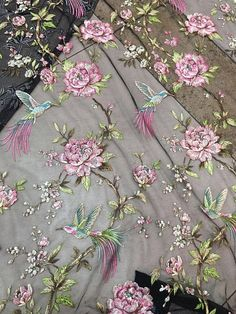 Colorful embroidery flowers and bird lace fabric, Lady & # s dress lace Tambour Embroidery, Couture Embroidery, Silk Ribbon Embroidery, Floral Embroidery, Embroidery Patterns, Hand Embroidery, Embroidered Lace Fabric, Floral Fabric, Floral Lace
