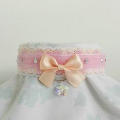 Pre-made Cute Peach Princess Swarovski Crystals Flower Kawaii Lace... ($13) ❤ liked on Polyvore featuring jewelry, necklaces, flower choker necklace, ribbon necklaces, lace collar necklace, swarovski crystal choker necklace and choker necklace