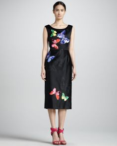 Marc Jacobs Embroidered Satin Midi Sheath Dress - Bergdorf Goodman